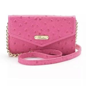 Buxton Ostrich Bright Pink Small Flap Crossbody